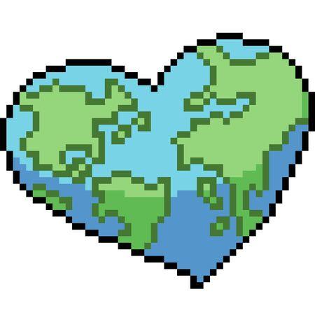 vector pixel art love earth isolated cartoon Ilustrace