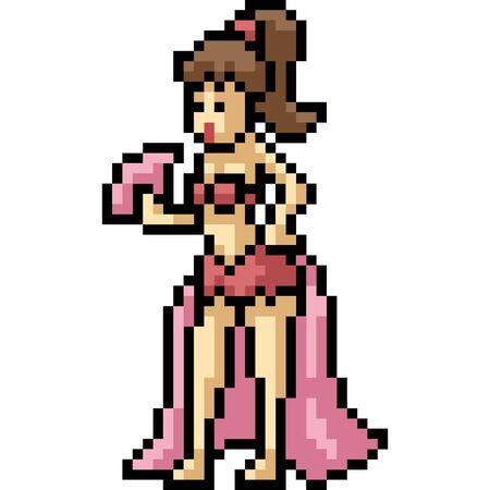 vector pixel art dancer isolated cartoon Ilustrace