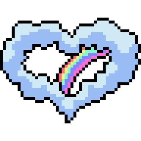 vector pixel art heart cloud isolated cartoon