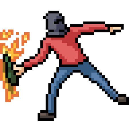 vector pixel art molotov throw isolated cartoon