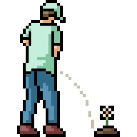 vector pixel art take a leak isolated cartoon Ilustrace