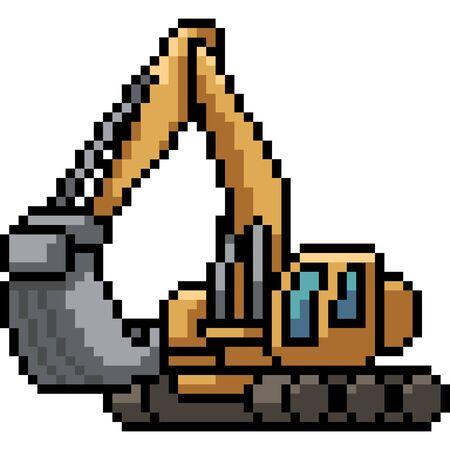 vector pixel art excavator isolated cartoon