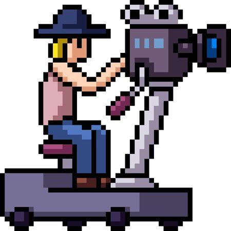 vector pixel art director isolated cartoon