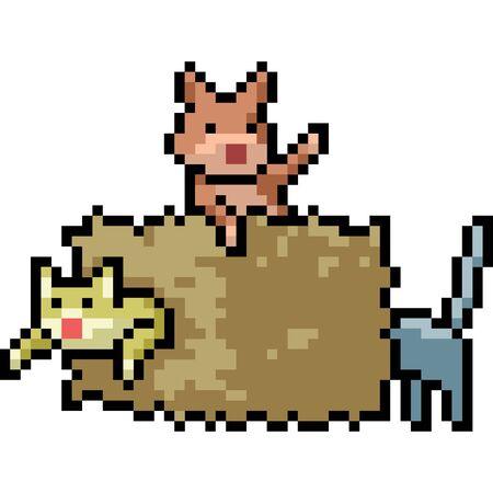 vector pixel art cat isolated cartoon Illusztráció