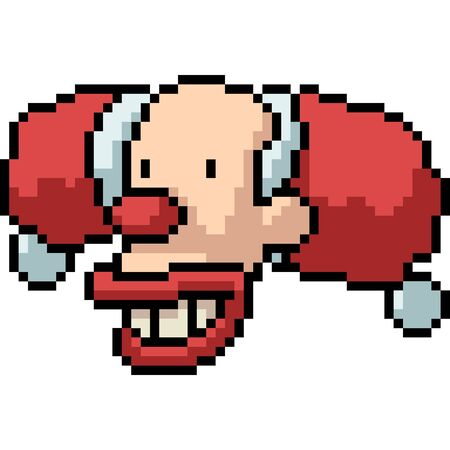 vector pixel art santa clown isolated cartoon