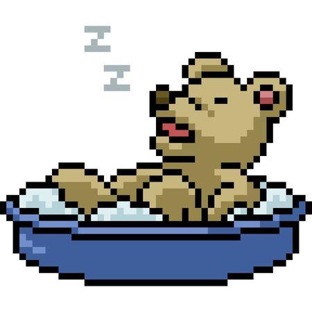 vector pixel art bear isolated cartoon