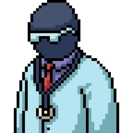 vector pixel art black doctor isolated cartoon Illusztráció
