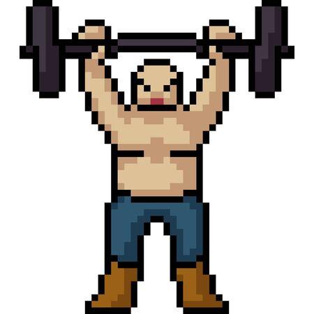vector pixel art muscle man isolated cartoon