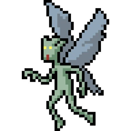 vector pixel art fairy monster isolated cartoon