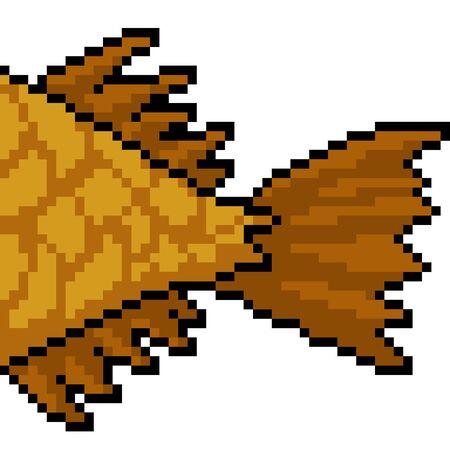vector pixel art fish tail isolated cartoon