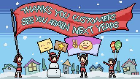 vector pixel art thank you customers cartoon scene