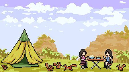 vector pixel art outdoor picnic cartoon scene