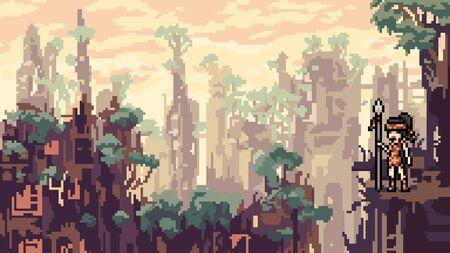 vector pixel art city disaster cartoon scene Illusztráció