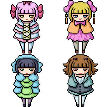 vector pixel art girl doll isolated set