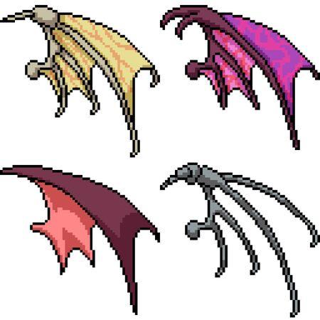 vector pixel art fancy wing isolated set