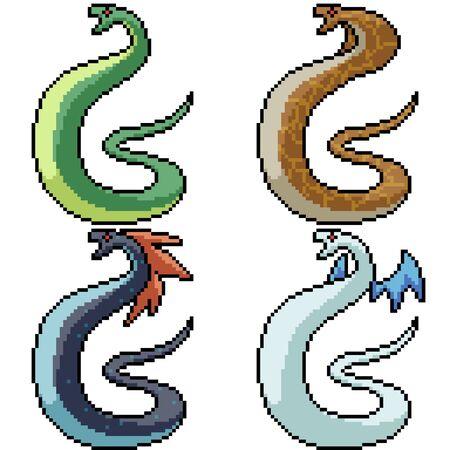 vector pixel art fancy snake isolated set