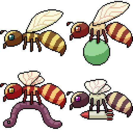 vector pixel art hornet isolated set