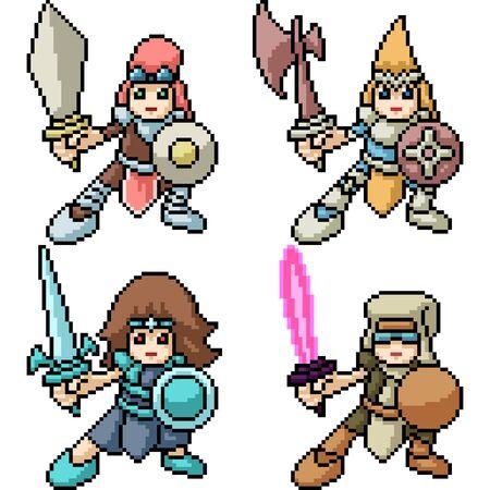 vector pixel art kid knight isolated set Illusztráció
