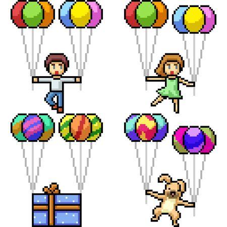 vector pixel art character balloon isolated set
