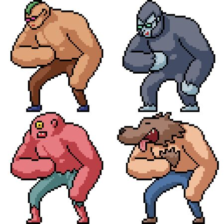 vector pixel art muscle character isolated set