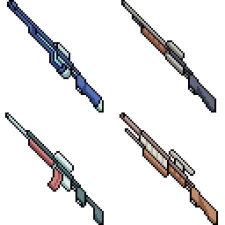 vector pixel art rifle gun isolated set