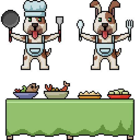 vector pixel art dog restaurant isolated set Illusztráció
