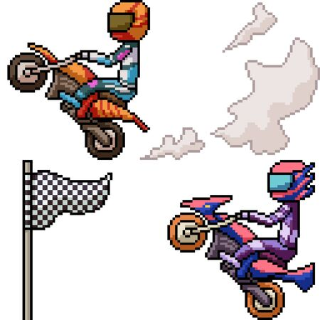 vector pixel art biker race isolated set