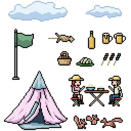 vector pixel art picnic camp isolated set