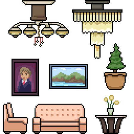 vector pixel art living room isolated set Ilustrace