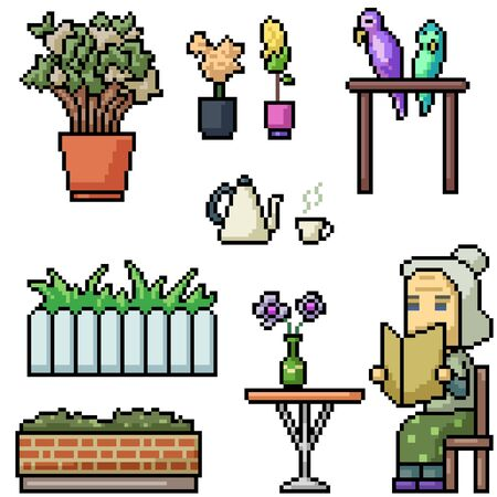 vector pixel art grandma relax isolated set