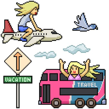 vector pixel art holiday travel isolated set