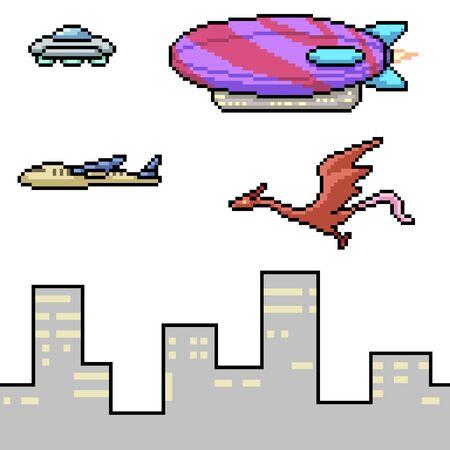 vector pixel art flying object isolated set Illusztráció