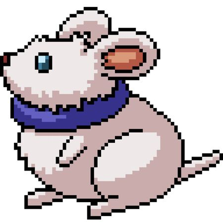 vector pixel art isolated fat mouse