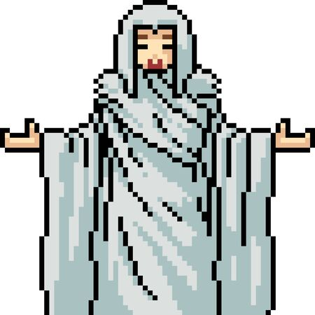 vector pixel art isolated holy lady 向量圖像