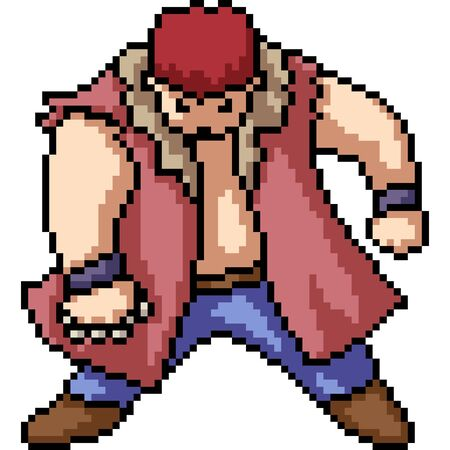 vector pixel art isolated fighter man