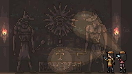 vector pixel art isolated ancient ruin Vectores