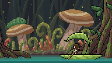 vector pixel art scene fantasy forest