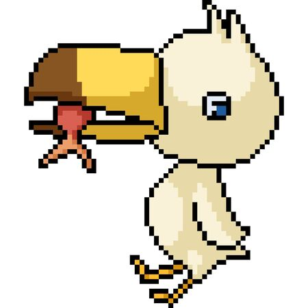 vector pixel art isolated heron baby