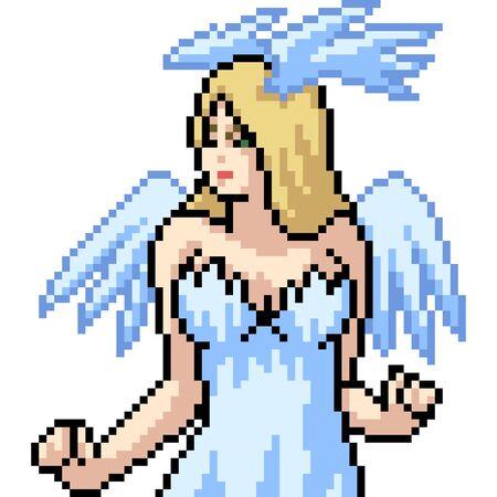 vector pixel art isolated anime angel