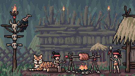 vector pixel art scene amazoness tribe
