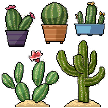 pixel art set isolated cactus decoration