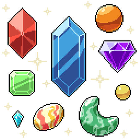 pixel art set isolated gemstone jewelry Illustration
