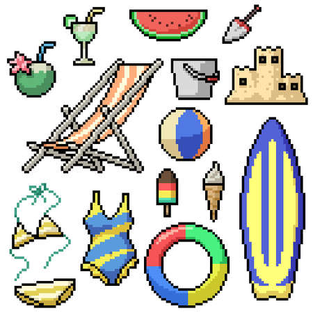pixel art set isolated beach items Illustration