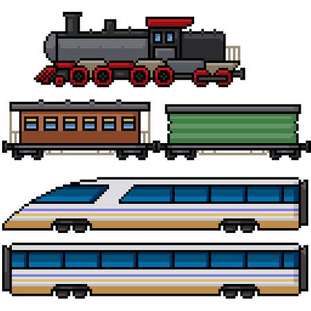 pixel art set isolated train retro modern