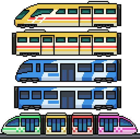 pixel art set isolated modern train Illustration