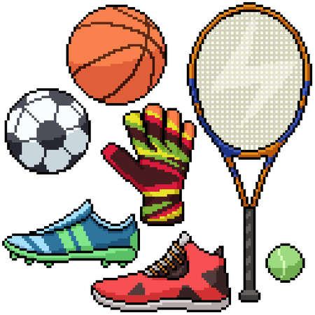 pixel art set isolated football basketball tennis Illustration