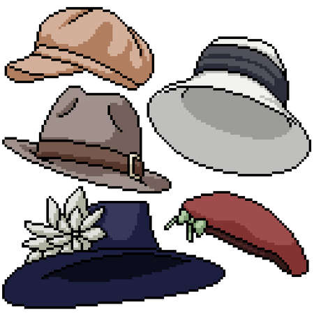 pixel art set isolated hat fashion Illustration