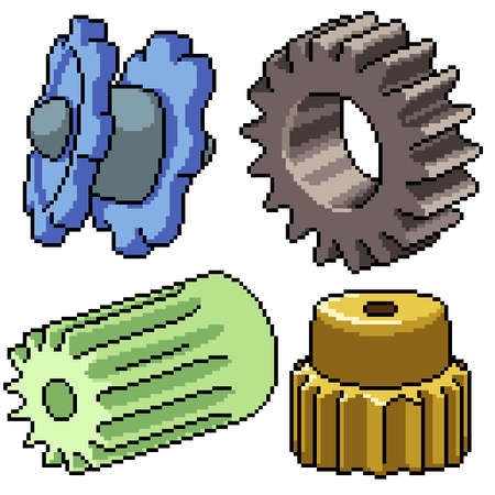 pixel art set isolated cog gear Illustration