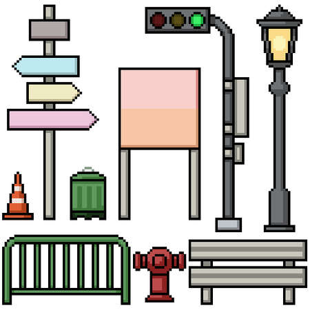 pixel art set isolated street items prop Illustration