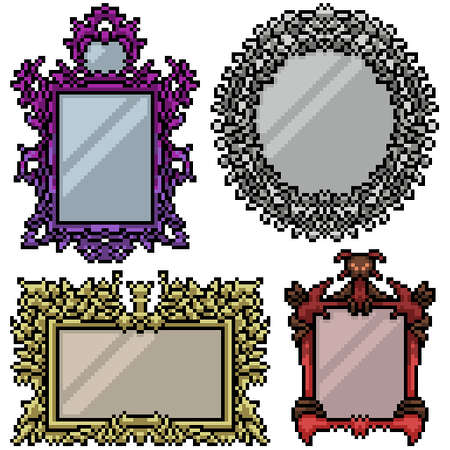 pixel art set isolated luxury mirror